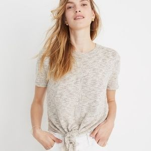 Madewell, Knot Front Sweater Tee, Marled Slate, XS
